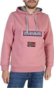Różowa bluza Napapijri w młodzieżowym stylu z bawełny