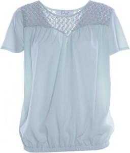 Niebieska bluzka Fokus z okrągłym dekoltem z krótkim rękawem w stylu boho