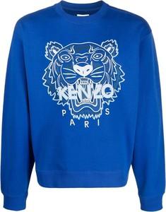 Niebieski sweter Kenzo z okrągłym dekoltem w młodzieżowym stylu