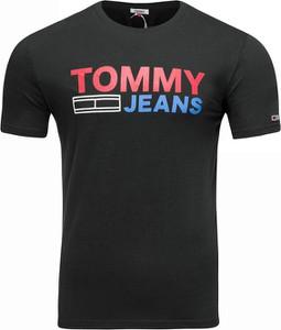 Czarny t-shirt Tommy Jeans w młodzieżowym stylu z bawełny