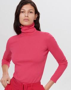 Różowa bluzka Mohito z długim rękawem w stylu casual z golfem