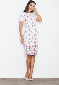 Sukienka sukienki.pl z okrągłym dekoltem z krótkim rękawem