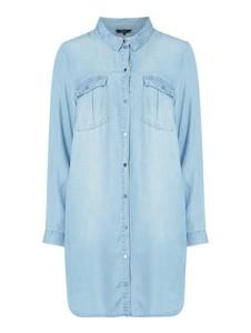 Niebieska sukienka Vero Moda Curve koszulowa z długim rękawem mini