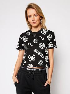 Czarny t-shirt Guess z okrągłym dekoltem z krótkim rękawem