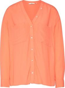 Pomarańczowa koszula Tom Tailor z dekoltem w kształcie litery v z długim rękawem