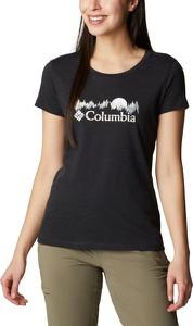 Czarny t-shirt Columbia z krótkim rękawem z okrągłym dekoltem