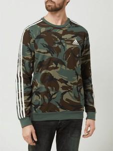 Zielona bluza Adidas Performance w militarnym stylu z bawełny