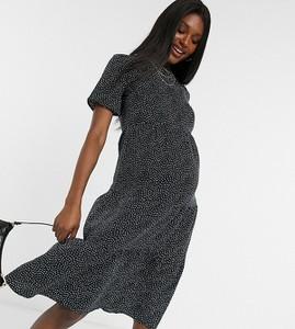 Influence Maternity – Czarna kaskadowa sukienka midi z marszczeniami i wzorem w groszki-Wielokolorowy