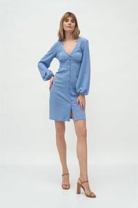 Niebieska sukienka Nife z dekoltem w kształcie litery v z długim rękawem