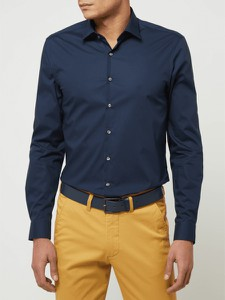 Granatowa koszula Calvin Klein z klasycznym kołnierzykiem z bawełny