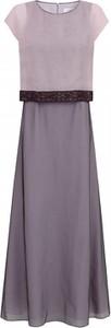 Fioletowa sukienka POTIS & VERSO maxi z okrągłym dekoltem z jedwabiu
