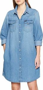 Niebieska sukienka amazon.de w stylu casual koszulowa z kołnierzykiem