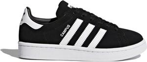 Czarne trampki dziecięce Adidas sznurowane w paseczki
