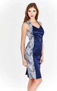 Granatowa sukienka Fokus bez rękawów