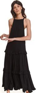 Czarna sukienka Top Secret z dekoltem halter koszulowa maxi