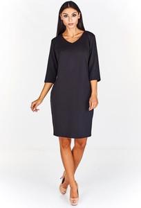 Czarna sukienka Fokus z długim rękawem midi z bawełny