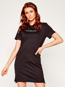 Sukienka Calvin Klein z okrągłym dekoltem mini sportowa