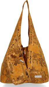 Brązowa torebka VITTORIA GOTTI w stylu boho zamszowa ze skóry