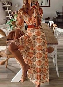 Pomarańczowa sukienka Sandbella w stylu boho z długim rękawem maxi