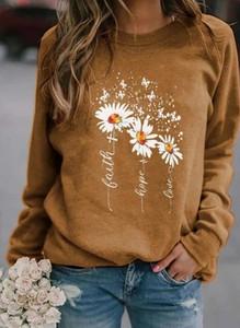 Brązowa bluzka Cikelly z długim rękawem z okrągłym dekoltem w stylu casual