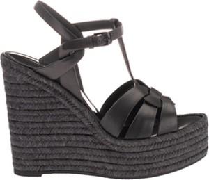 Czarne sandały SAINT LAURENT na koturnie
