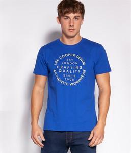 Niebieski t-shirt Lee Cooper z krótkim rękawem