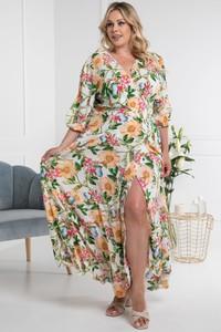 Sukienka KARKO z dekoltem w kształcie litery v w stylu boho maxi