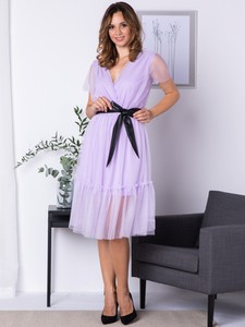 Sukienka Grandio z krótkim rękawem midi z tiulu