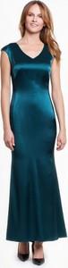 Zielona sukienka POTIS & VERSO maxi z dekoltem w kształcie litery v