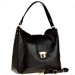 Czarna torebka Real Leather w stylu glamour ze skóry