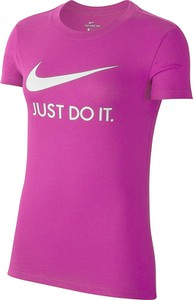 Różowa bluzka Nike z krótkim rękawem z okrągłym dekoltem w sportowym stylu