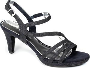 Czarne sandały Marco Tozzi z klamrami