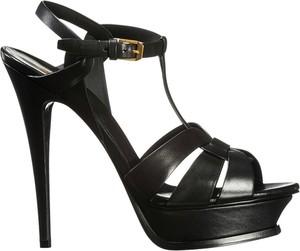 Czarne sandały SAINT LAURENT z klamrami