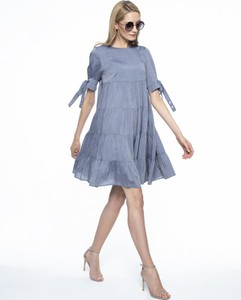 Niebieska sukienka L'AF z krótkim rękawem mini