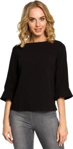 Czarna bluzka Merg z dekoltem w łódkę w stylu casual