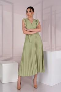 Zielona sukienka MERRIBEL z dekoltem w kształcie litery v z długim rękawem