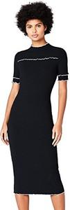 Czarna sukienka amazon.de midi dopasowana z krótkim rękawem