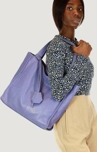 Fioletowa torebka Merg na ramię ze skóry duża