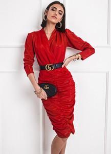Czerwona sukienka SELFIEROOM w stylu casual