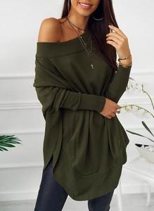 Zielona sukienka Cikelly z długim rękawem z dresówki w stylu casual