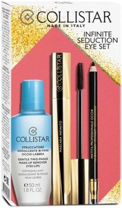 Collistar Infinite Seduction Eye Set zestaw Gentle Two-Phase Makeup Remover Eyes-Lips płyn do demakijażu 50ml + Mascara Infinito 11ml + Professional Eye Pencil