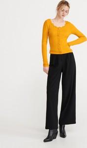 Żółta bluzka Reserved z długim rękawem z okrągłym dekoltem w stylu casual