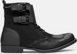 Czarne buty zimowe Kazar na zamek z nubuku