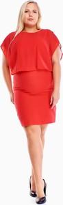 Czerwona sukienka Fokus dla puszystych z krótkim rękawem mini