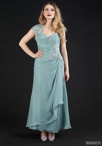 Sukienka Rokado z krótkim rękawem maxi z dekoltem w kształcie litery v