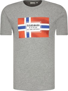 T-shirt Napapijri w młodzieżowym stylu z nadrukiem z krótkim rękawem
