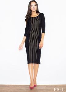 Czarna sukienka sukienki.pl z okrągłym dekoltem midi