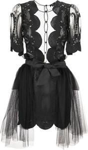 Czarna sukienka Elisabetta Franchi z tiulu z kołnierzykiem z krótkim rękawem