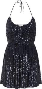 Niebieska sukienka SAINT LAURENT z dekoltem w kształcie litery v na ramiączkach
