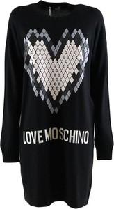 Czarna sukienka Love Moschino z długim rękawem mini
